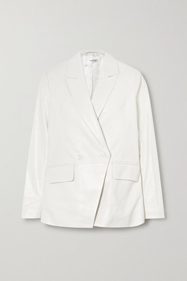 Anine Bing Grace Double-breasted Leather Blazer - White