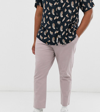 ASOS DESIGN Plus cigarette chinos with pleats in warm pink