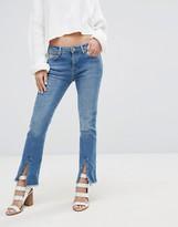 MANGO split Front Cropped Kick Flare Jean