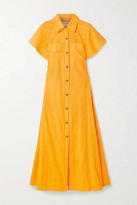 Mara Hoffman + Net Sustain Aimilios Organic Cotton-jacquard Maxi Shirt Dress - Saffron
