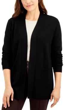 Karen Scott Chevron Open-Front Cardigan, Created for Macy's
