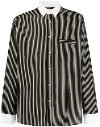 Saint Laurent Striped Contrasting Collar Shirt