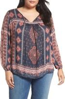Lucky Brand Plus Size Women's Boho Print Top