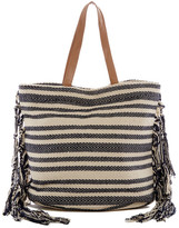 Magid Fringed Canvas Stripe Tote