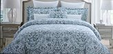 Nicole Miller 3 Piece Cotton Full Queen Size Duvet Cover Set Charcoal, Light Gray and Light Blue Watercolor Paisley Pattern on White