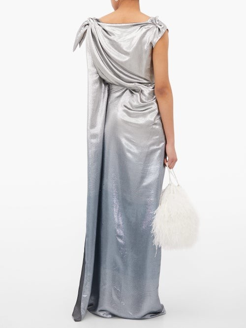 Thumbnail for your product : Roland Mouret Silvabella Silk-blend Lame Gown - Silver Multi
