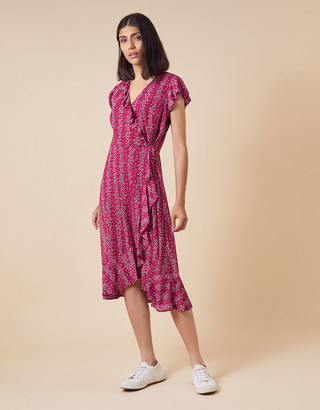 Monsoon Fergie Floral Wrap Jersey Midi Dress Pink