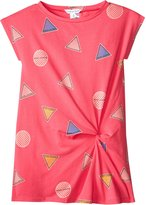 Little Marc Jacobs Allover Print Dress With Knot Detail - Rose/Bleu - 8A