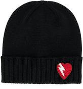 Saint Laurent lightning bolt heart patch hat - women - Wool - S