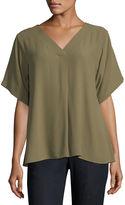 Eileen Fisher Short-Sleeve V-Neck Crepe Blouse, Plus Size