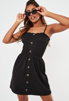 Missguided Black Button Down Shirred Skater Dress