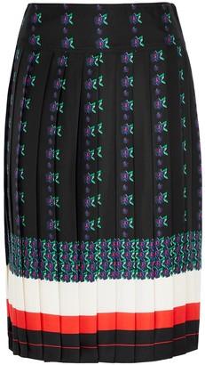 Tory Burch Floral-print pleated silk midi skirt
