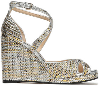 Jimmy Choo Alanah 105 Metallic Woven Wedge Sandals