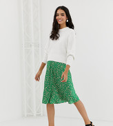 Monki satin dot print midi skirt in green and pink