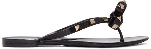 Valentino Black Garavani Rockstud Jelly Bow Sandals
