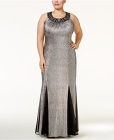 R & M Richards Plus Size Beaded Metallic Pleated Gown