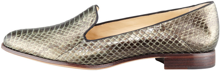 Alexandre Birman Python Smoking Loafer, Forest Green