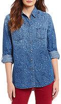Allison Daley Roll-Tab Sleeve Button Front Denim Shirt