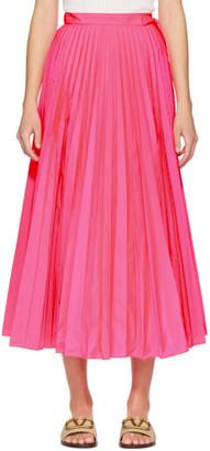 Valentino Pink Pleated Waist-Tie Skirt