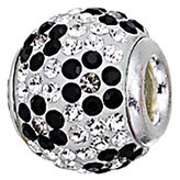 Zable Sterling Silver Black Crystals Flower Pattern Spacer Bead