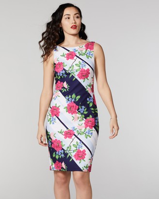 Vince Camuto Striped & Floral-Print Sheath