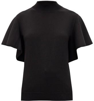 Chloé Fluid-sleeve Knitted Wool-blend Top - Black