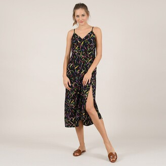 Molly Bracken V-Neck Printed Midi Dress with Shoestring Straps and Low Back