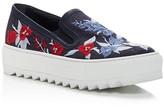 Salvatore Ferragamo Egla Embroidered Denim Platform Slip On Sneakers