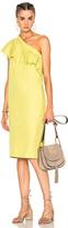 Apiece Apart Reina One Shoulder Ruffle Dress in Yellow.