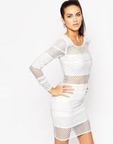 Wow Couture Mesh Insert Bandage Mini Dress