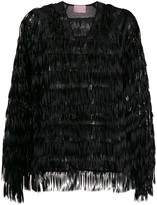 Giamba fringed sequin-embellished blouse