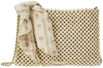 Loeffler Randall Mia Beaded Pouch (Natural/Ticking Stripe) Handbags