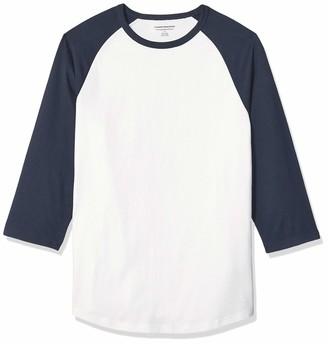 Amazon Essentials Men's Slim-Fit 3/4 Sleeve Baseball T-Shirt