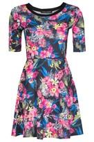 Select Fashion Fashion Womens Multi Tropical Sporty Skater Dress - size 10