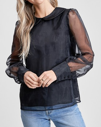 Express En Saison Black Sheer Long Sleeve Collared Top