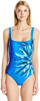 Gottex Women's Lanai Square Neck Full Coverage One Piece Swimsuit