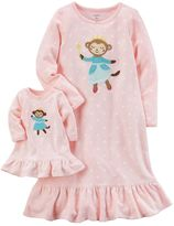 Carter's Toddler Girl Ballerina Monkey Fleece Nightgown with Doll Nightgown