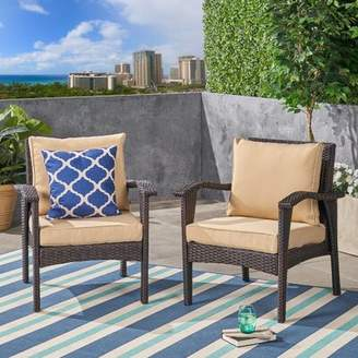 Charlton Home Jameson Club Chair Outdoor Replacement Cushion Set Charlton Home Fabric: Tan