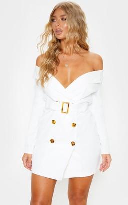 Bardot Loccoapp White Tortoise Button Belted Blazer Dress