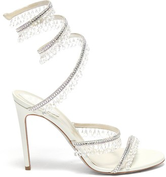 Rene Caovilla Cleo' chandelier strass coil anklet satin heel sandals