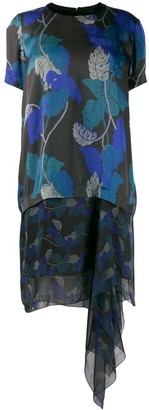 Sacai Leaf Print Asymmetric Dress