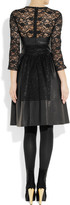 Mulberry Paneled leather and lace dress
