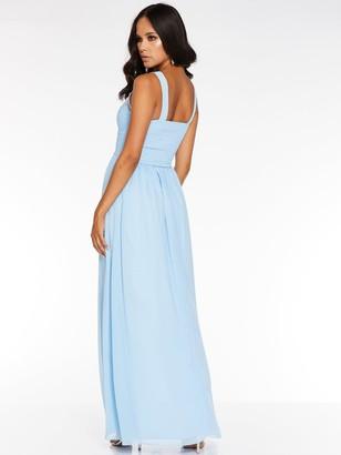 Quiz Chiffon High Neck Embellished Bridesmaid Maxi Dress - Blue