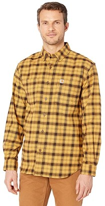 Carhartt Rugged Flex Relaxed Fit Flannel Long Sleeve Plaid Shirt (Yellowstone) Men's Clothing