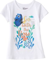 """Disney Pixar Finding Dory Girls 7-16 """"Go With the Flow"""" Glitter Graphic Tee"""