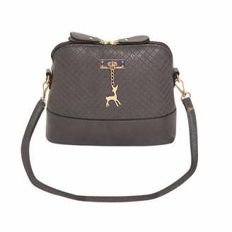 TEELONG Women's Ladies Messenger Bags Fashion Mini Shoulder Bag Cute Deer Toy Shell Shape Handbag Small Cross Body PU Leather Bag Purse Vintage 2020 Grey