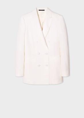 Paul Smith Women's Ivory Double-Breasted Tuxedo Wool Blazer