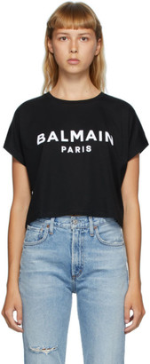 Balmain Black Logo Rolled T-Shirt