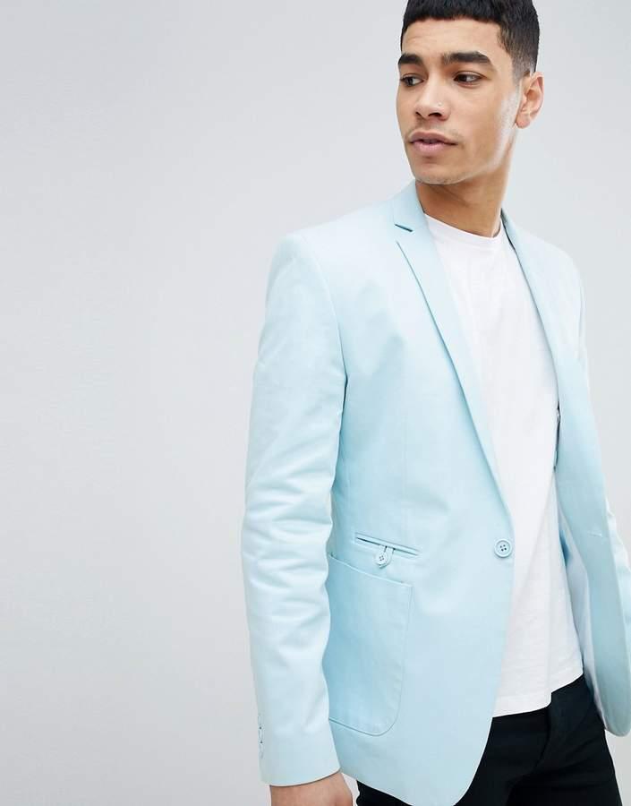 Asos Design DESIGN Super Skinny Blazer In Light Blue Cotton