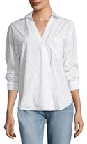 Bailey 44 First Born Asymmetric Button-Front Striped Shirt